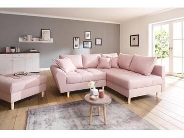 Home Affaire Ecksofa »Rice«, rosa, B/H/T: 223x47x70cm, hoher Sitzkomfort