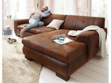 Home Affaire Ecksofa »Nika« mit Bettfunktion, braun, Recamiere rechts, B/T: 277x59cm, hoher Sitzkomfort