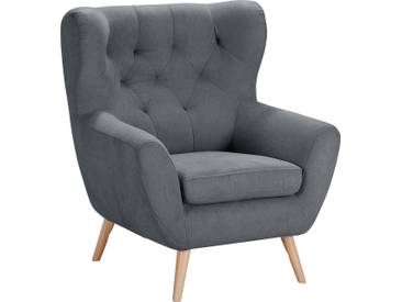 Home Affaire  Sessel  mit moderner Knopfheftung »VOSS«, dunkelgrau, B/H/T: 87x47x53cm, hoher Sitzkomfort