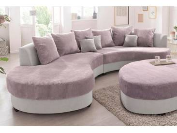 Benformato Home Collection Big-Sofa, grau, Ottomane rechts, B/H/T: 306x38x55cm, hoher Sitzkomfort