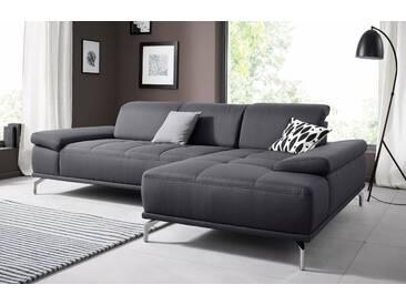 Places Of Style Ecksofa »Caluna«, grau, Recamiere rechts, B/H/T: 269x45x68cm, hoher Sitzkomfort