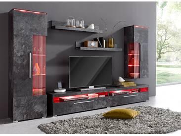 Cnouch Wohnwand, schwarz, pflegeleichte Oberfläche