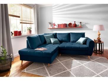Home Affaire Ecksofa »Penelope«, blau, hoher Sitzkomfort