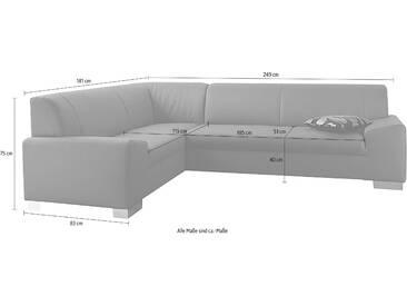 Domo Collection Ecksofa ohne Schlaffunktion, grau, B/H/T: 249x40x51cm