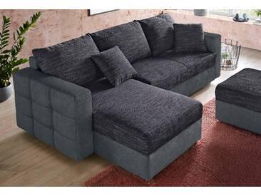 Raum.id Ecksofa, grau, Recamiere links/rechts montierbar, B/H/T: 233x42x54cm, Inkl. loser Zier- und Rückenkissen, hoher Sitzkomfort