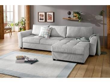 Home Affaire  Ecksofa  inkl. Bettfunktion und Bettkasten »Torben« mit Schlaffunktion und Bettkasten, grau, B/H/T: 281x43x55cm, hoher Sitzkomfort