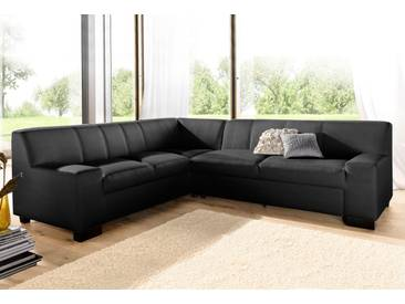 Domo Collection Ecksofa, schwarz, Langer Schenkel rechts, B/H/T: 247x43x59cm, hoher Sitzkomfort