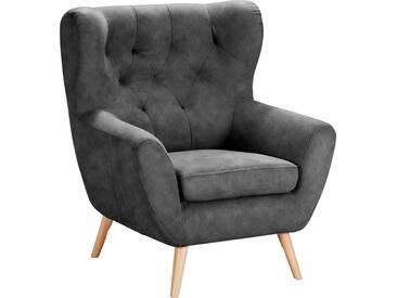 Home Affaire  Sessel  mit moderner Knopfheftung »VOSS«, grau, B/H/T: 87x47x53cm, hoher Sitzkomfort