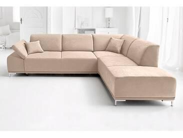 Domo Collection Eck-Couch, beige, B/H/T: 282x46x57cm, komfortabler Federkern, hoher Sitzkomfort, FSC®-zertifiziert