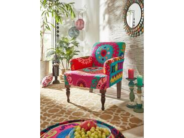 Home Affaire Armsessel », jedes Stück ein Unikat: gehäkelte, gestickte und aufgenähte Stoff-Elemente«, B/H/T: 70x45x60cm, hoher Sitzkomfort, FSC®-zertifiziert