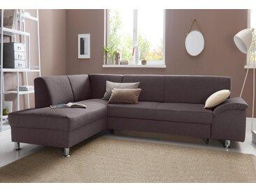 Trendmanufaktur Ecksofa mit Schlaffunktion, braun, komfortabler Federkern