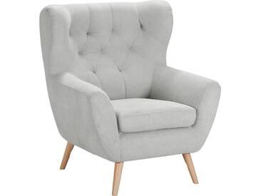 Home Affaire  Sessel  mit moderner Knopfheftung »VOSS«, silber, B/H/T: 87x47x53cm, hoher Sitzkomfort