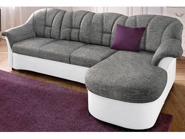 Domo Collection Polstergarnitur, grau, Recamiere rechts, B/H/T: 233x42x50cm, hoher Sitzkomfort