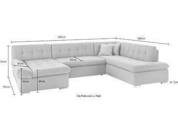 Trendmanufaktur Wohnlandschaft mit Schlaffunktion, schwarz, B/H/T: 298x44x53cm, Inkl. Zierkissen, hoher Sitzkomfort