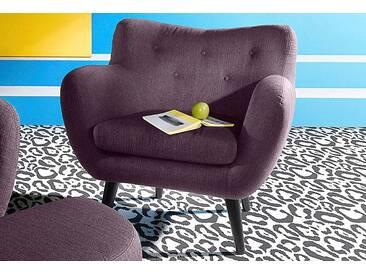 Inosign  Sessel im Retro-Style, lila, B/H/T: 91x48x52cm, hoher Sitzkomfort