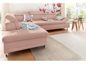 Sit&more Ecksofa mit Schlaffunktion, rosa, hoher Sitzkomfort