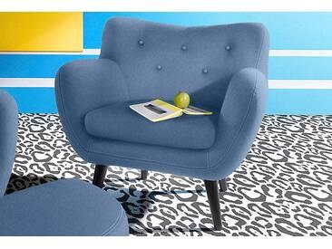 Inosign  Sessel im Retro-Style, blau, B/H/T: 91x48x52cm, hoher Sitzkomfort