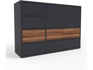 Kommode Schwarz - Lowboard: Schubladen in Schwarz & Türen in Schwarz - Hochwertige Materialien - 116 x 80 x 35 cm, konfigurierbar