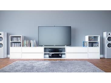 TV-Schrank Weiß - Moderner Fernsehschrank: Schubladen in Weiß - 303 x 80 x 35 cm, konfigurierbar