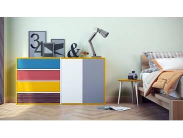 Kommode Gelb - Lowboard: Schubladen in Blau & Türen in Weiß - Hochwertige Materialien - 152 x 80 x 35 cm, konfigurierbar