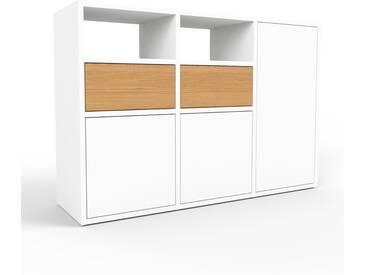 Sideboard Weiß - Sideboard: Schubladen in Eiche & Türen in Weiß - Hochwertige Materialien - 118 x 80 x 35 cm, konfigurierbar