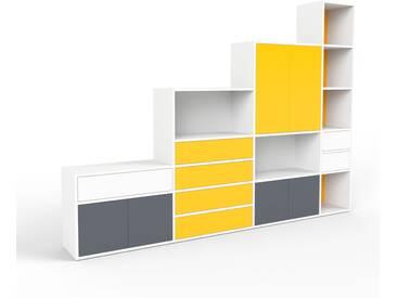 Regalsystem Weiß - Regalsystem: Schubladen in Gelb & Türen in Anthrazit - Hochwertige Materialien - 265 x 195 x 35 cm, konfigurierbar