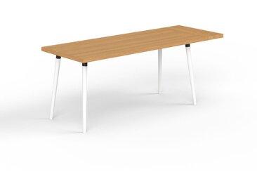 Schreibtisch Massivholz Eiche, Holz - Moderner Massivholz-Schreibtisch: Einzigartiges Design - 190 x 75 x 70 cm, konfigurierbar