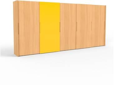 Kleiderschrank Buche, Holz - Individueller Designer-Kleiderschrank - 504 x 233 x 65 cm, Selbst Designen, Kleiderstange/hohe Schublade/Schublade Glasfront/Kleiderlift/Hosenhalter