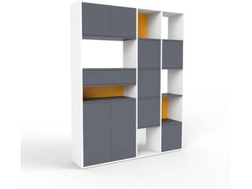 Regalsystem Weiß - Regalsystem: Schubladen in Anthrazit & Türen in Anthrazit - Hochwertige Materialien - 154 x 195 x 35 cm, konfigurierbar