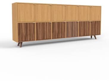 Sideboard Eiche - Designer-Sideboard: Türen in Nussbaum - Hochwertige Materialien - 233 x 91 x 35 cm, Individuell konfigurierbar