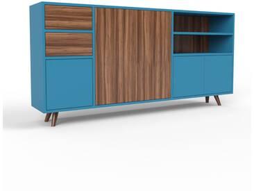 Sideboard Blau - Sideboard: Schubladen in Nussbaum & Türen in Blau - Hochwertige Materialien - 190 x 91 x 35 cm, konfigurierbar
