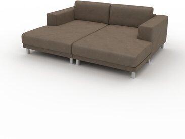 Ledersofa Graubraun Veganes Leder - Elegantes, gemütliches Ledersofa: Hochwertige Qualität, einzigartiges Design - 208 x 75 x 162 cm, konfigurierbar