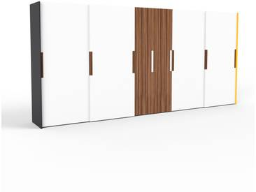 Kleiderschrank Schwarz/Gelb - Individueller Designer-Kleiderschrank - 504 x 233 x 65 cm, Selbst Designen, Schuhauszug/Kleiderstange/hohe Schublade