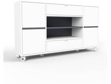 Rollcontainer Weiß - Rollcontainer: Schubladen in Weiß & Türen in Weiß - 154 x 80 x 35 cm, konfigurierbar