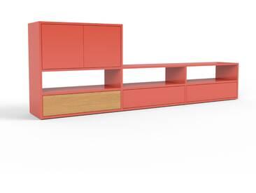 TV-Schrank Rot - Fernsehschrank: Schubladen in Rot & Türen in Rot - 226 x 80 x 35 cm, konfigurierbar