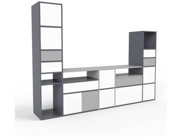 TV-Schrank Anthrazit - Fernsehschrank: Schubladen in Grau & Türen in Weiß - 267 x 195 x 47 cm, konfigurierbar