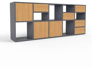 Sideboard Anthrazit - Sideboard: Schubladen in Eiche & Türen in Eiche - Hochwertige Materialien - 195 x 80 x 35 cm, konfigurierbar