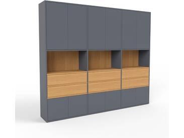 Aktenschrank Anthrazit - Büroschrank: Schubladen in Eiche & Türen in Anthrazit - Hochwertige Materialien - 226 x 195 x 35 cm, Modular