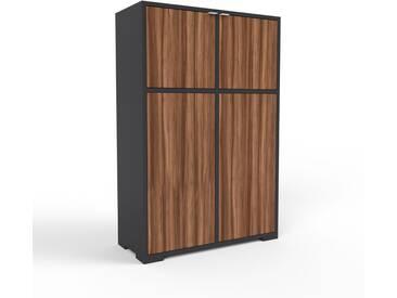Highboard Schwarz - Elegantes Highboard: Türen in Nussbaum - Hochwertige Materialien - 79 x 120 x 35 cm, Selbst designen
