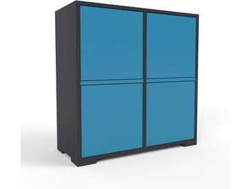 Aktenschrank Schwarz - Flexibler Büroschrank: Türen in Blau - Hochwertige Materialien - 79 x 81 x 35 cm, Modular