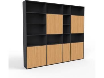 Aktenregal Schwarz - Flexibles Büroregal: Türen in Eiche - Hochwertige Materialien - 265 x 233 x 35 cm, konfigurierbar