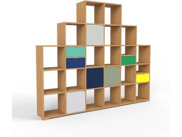 Bibliotheksregal Eiche - Modernes Regal für Bibliothek: Schubladen in Seegrün & Türen in Lichtgrau - 233 x 196 x 35 cm, konfigurierbar