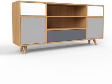 Sideboard Eiche - Sideboard: Schubladen in Weiß & Türen in Grau - Hochwertige Materialien - 154 x 72 x 35 cm, konfigurierbar