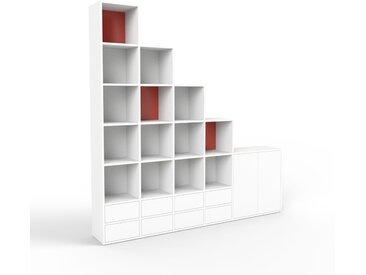 Regalsystem Weiß - Regalsystem: Schubladen in Weiß & Türen in Weiß - Hochwertige Materialien - 231 x 233 x 35 cm, konfigurierbar