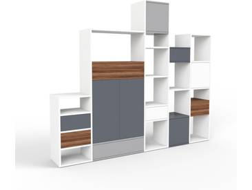 Regalsystem Weiß - Regalsystem: Schubladen in Nussbaum & Türen in Anthrazit - Hochwertige Materialien - 231 x 195 x 35 cm, konfigurierbar