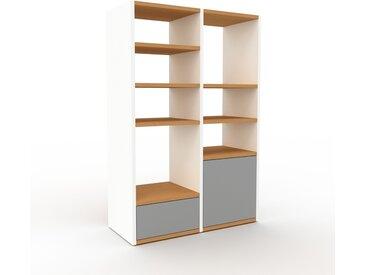 Regalsystem Weiß - Regalsystem: Schubladen in Grau & Türen in Grau - Hochwertige Materialien - 79 x 118 x 35 cm, konfigurierbar