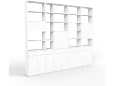Regalsystem Weiß - Regalsystem: Schubladen in Weiß & Türen in Weiß - Hochwertige Materialien - 339 x 291 x 35 cm, konfigurierbar