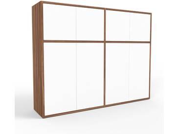 Highboard Nussbaum - Elegantes Highboard: Türen in Weiß - Hochwertige Materialien - 152 x 118 x 35 cm, Selbst designen