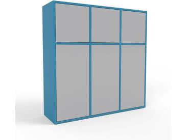 Highboard Blau - Elegantes Highboard: Türen in Grau - Hochwertige Materialien - 118 x 118 x 35 cm, Selbst designen
