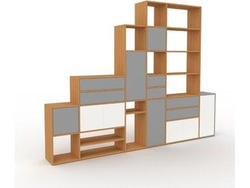 Regalsystem Eiche - Regalsystem: Schubladen in Grau & Türen in Weiß - Hochwertige Materialien - 306 x 233 x 35 cm, konfigurierbar